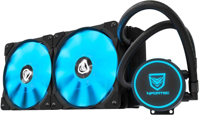 Nfortec Hydrus V2 Refrigeración Líquida 240mm con Ventilador LED Blue de 120mm (Compatible con AMD e Intel) - Color Azul