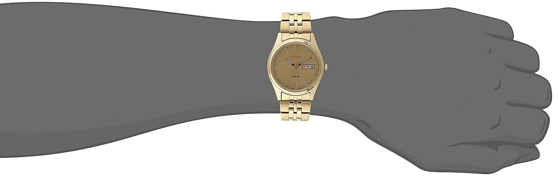 Seiko Men Goldtone Dial Solar Calendar Watch
