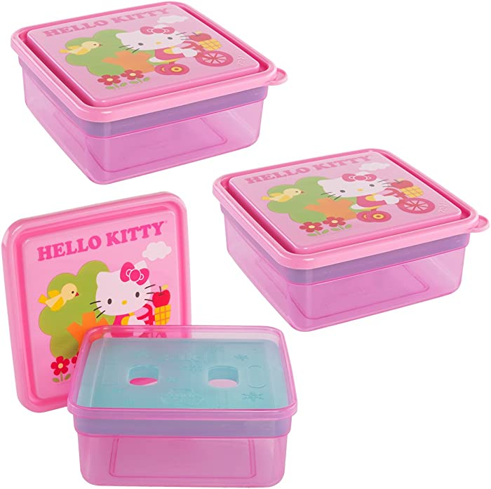Hello Kitty Lunch Box (3 Pack) 26oz Zak Design And Sanrio Plastic Food Storage Containers, Meal Prep Containers With Freezer Packs For Lunch Box