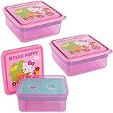 Hello Kitty (3 Pack) 26oz Zak! Plastic Sandwich Food Storage Containers Freezer Packs