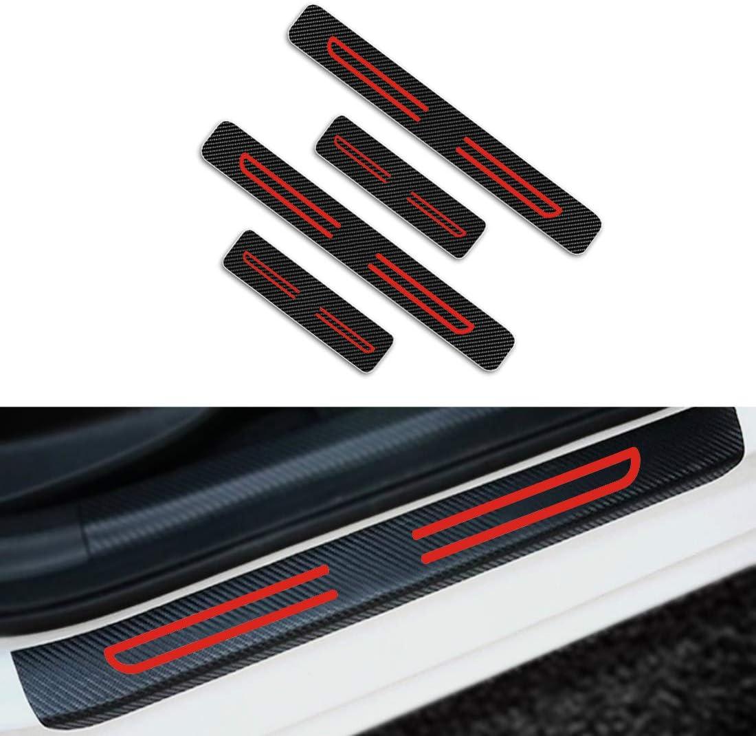 Per B enz Battitacco Auto Esterno Batticalcagno Adesivi delle Soglie delle Porte Fibra di Carbonio Bianco 4 Pezzi