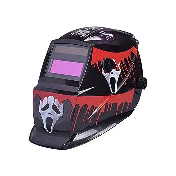 Hanbaili Casco de soldadura, 1932A cráneo rojo Máscara de soldador de oscurecimiento automático Casco Soldador Máscaras Protección UV Protección IR: ...