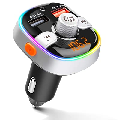 ZEEPORTE Bluetooth FM Transmitter for Car, QC3.0 Wireless Radio Bluetooth Adapter Music Player Charger Car Kit with Hands Free, 7-Colors LED Backlit, 2 USB Ports, Support TF Card USB Flash Drive: Home Audio & Theater