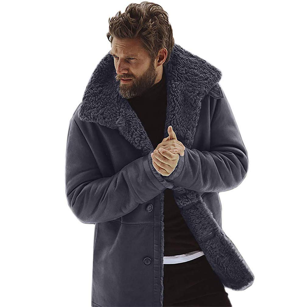 EISHOW Mens Fleece Winter Jacket Thicken Cotton Detached Casual Coat Turn-Down Collar Medium Length Warm Sherpa Lined Outerwear (Gray, XL)