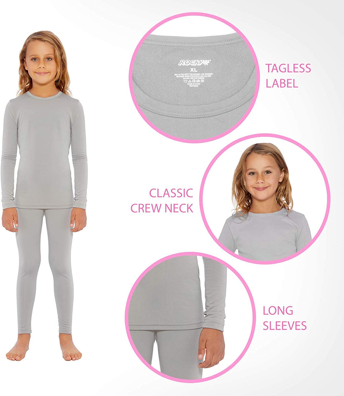Rocky Thermal Underwear for Girls Fleece Lined Thermals Kids Base Layer Long John Set: Clothing