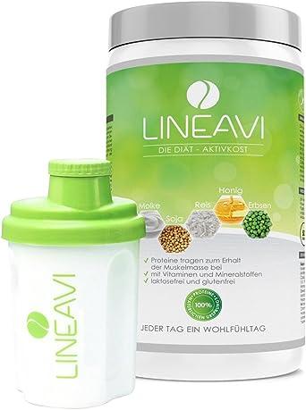 LINEAVI Alimento Dietético Activo, sustitutivo de comida, mezcla de proteínas de soja, guisante, arroz y suero de leche, sin lactosa ni gluten, hecho ...