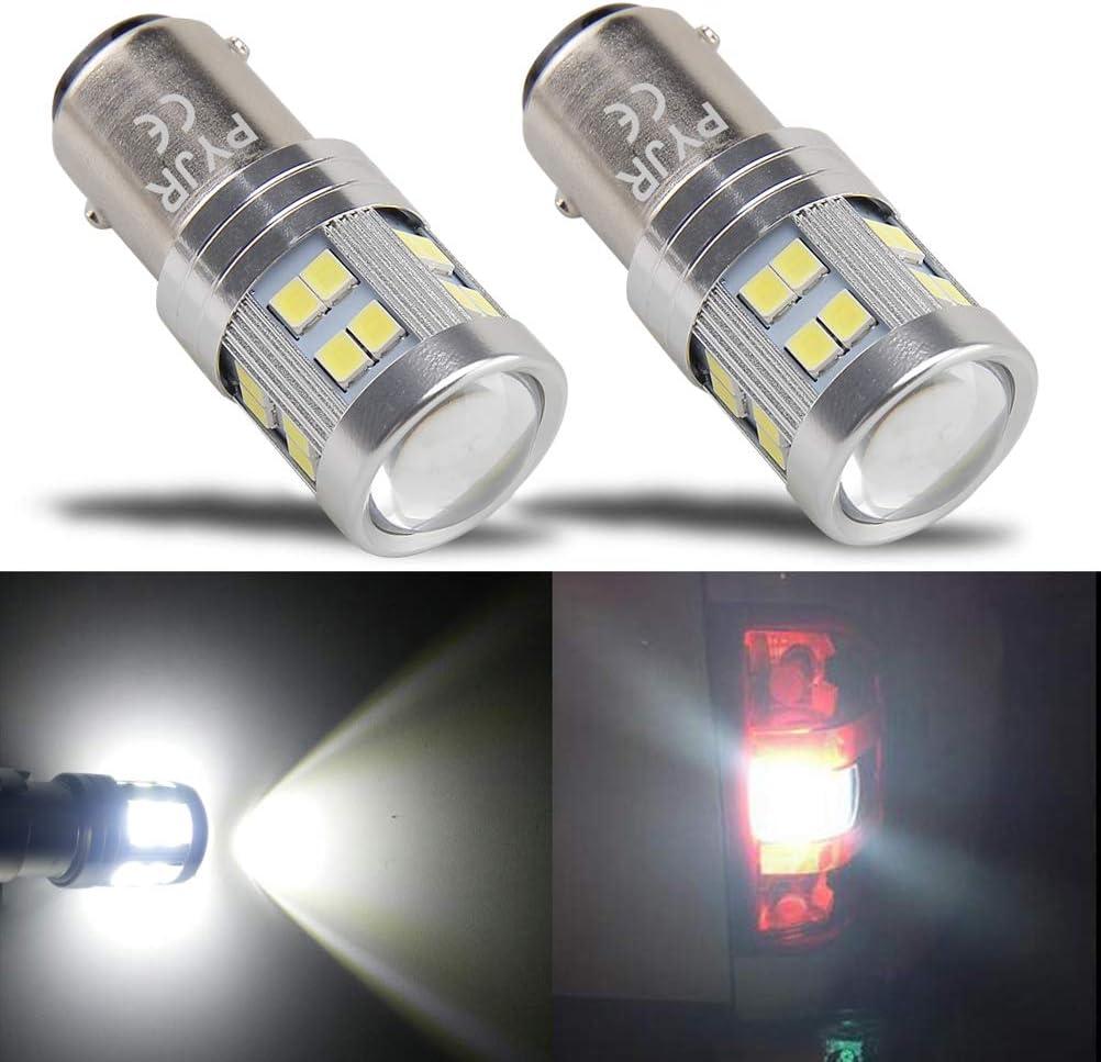 BAY15D 1157 bombilla led 12V 24V luz de freno, PYJR 6W Luz blanca 6000K Con proyector de lentes, 2 unidades