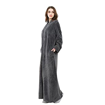 166aa42674 Oksun Womens Plus Size Fleece Dressing Gown Soft Bathrobe Full Length with  Zipper  Amazon.co.uk  Clothing