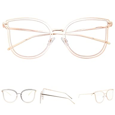 b5995066759 Amazon.com  Womens Oversize Large Cat eye Clear Lens Sunglasses Double Rim  Wire Metal Frame Transparent (Golden)  Clothing