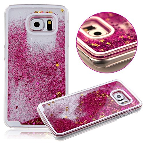 Samsung Galaxy S8 Waterfall Liquid 3D Glitter Quicksand Cascade Dazzling Stars Hearts Movable Falling Flowing Bling Sparkles Case [Hard Cover] Phone Accessories By Tech Express (Hot Pink) (Zebra Cover Silicone Case)