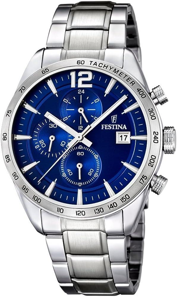 フェスティナ Festina Men's Quartz Watch with Blue Dial Chronograph Display and Silver Stainless Steel Bracelet F16759/3 [並行輸入品]