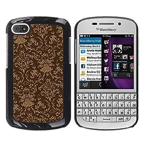 PC/Aluminum Funda Carcasa protectora para BlackBerry Q10 Wallpaper Vintage Pattern Brown Design / JUSTGO PHONE PROTECTOR