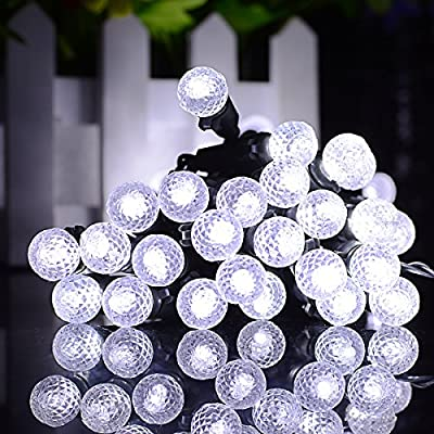 Lalapao G12 Battery Operated String Lights 50 LED Fairy Christmas Lighting Decor Timer For Outdoor Indoor Garden Patio Lawn Holiday Wedding Decorations (White)