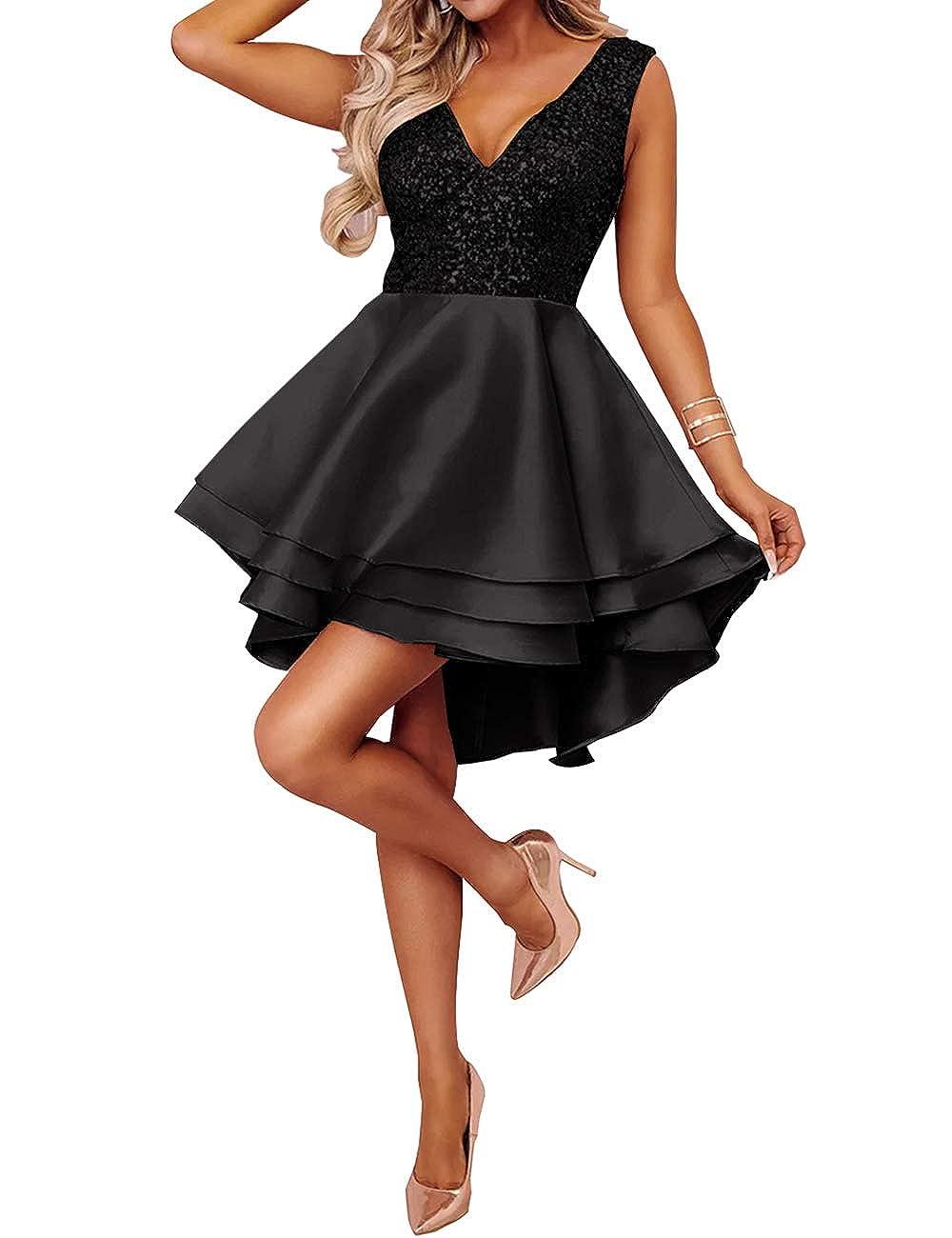 Lrady Womens Sequin Glitter V Neck Skater Mini Club Cocktail Party Swing Dress