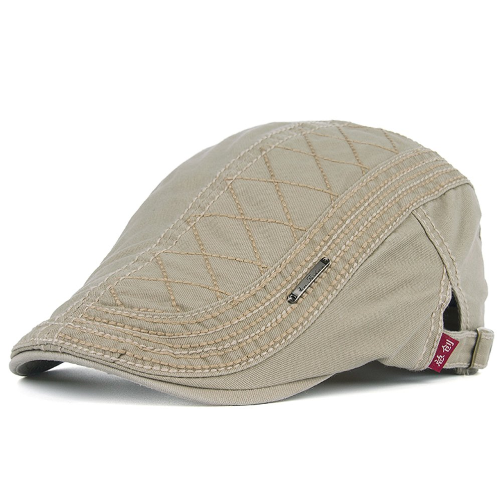 Men's Cotton Flat Newsboy Cap Ivy Gatsby Cabbie Driving Hunting Hat Summer(Beige)