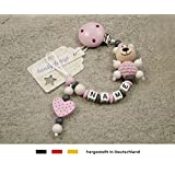 Baby SCHNULLERKETTE mit NAMEN | Schnullerhalter mit Wunschnamen - Mädchen Motiv Bär und Herz in rosa