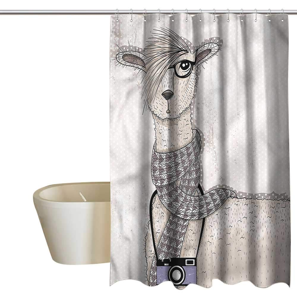 Denruny Shower Curtains Pink and Blue Animal,Llama with Glasses Scarf,W108 x L72,Shower Curtain for clawfoot tub