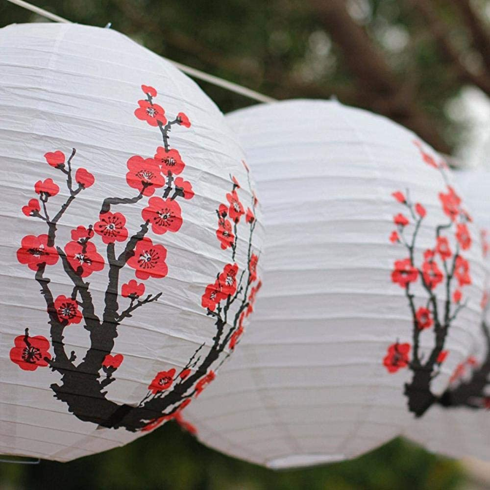 DAYI Red Sakura Paper Lanterns 16inch 40cm Chinese Japanese Festival Paper Lantern Flower Balls Wedding Party Decorations 3pcs//lot,12inch