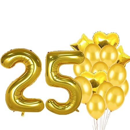Globos de látex con diseño de 25 cumpleaños para decoración ...