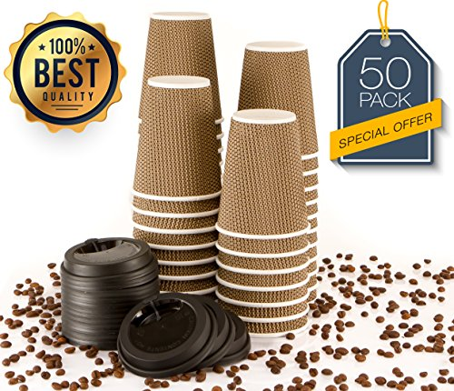 MyHomeIdeas Hot Insulated Paper Cups with Lids For Coffee Tea Espresso Latte - Ripple Insulated Eco Friendly Unspillable Sturdy Construction | Disposable Craft Large Reusable | 12 Oz / 50 Count