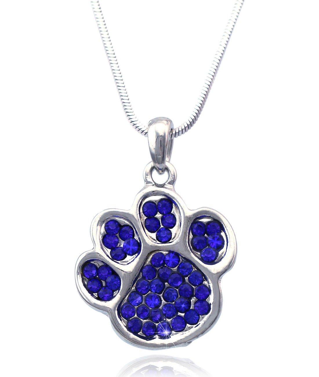 Azaina_cfj Royal Blue - Crystal Small Doggy Dog Pet Animal Paw Pendant Necklace