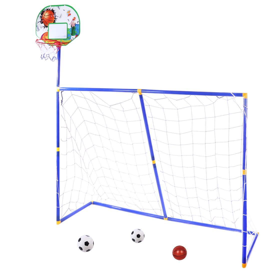 YAKOK But de Football, Enfants, 158* 158* 45.5cm, Kids Soccer Goal et Panier de Basketball buts de Football pour Enfant Intérieur et Sports de Plein air, Box Package