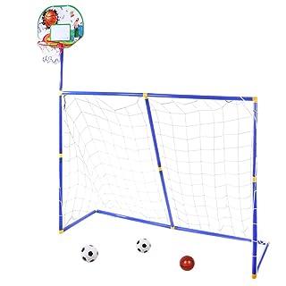 MRKE 3 in 1 Canestro Basket + Porta Calcio Bambini Giocattolo Pieghevole con 2 Calcio et 1 Pallacanestro, 158*158*45.5cm