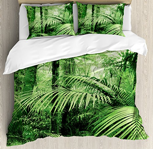 Ambesonne Rainforest Decorations Duvet Cover Set, Palm Trees and Exotic Plants in Tropical Jungle Wild Nature Zen Theme Illustration, 3 Piece Bedding Set with Pillow Shams, Queen/Full, Green