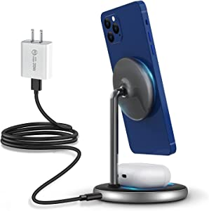 ROBOQi 2-in-1 Mag-Safe Wireless Charger Stand Magnetic Charging Station Dock for iPhone 12/12 Mini/12 Pro/ 12 Pro Max, Airpods Pro/2.