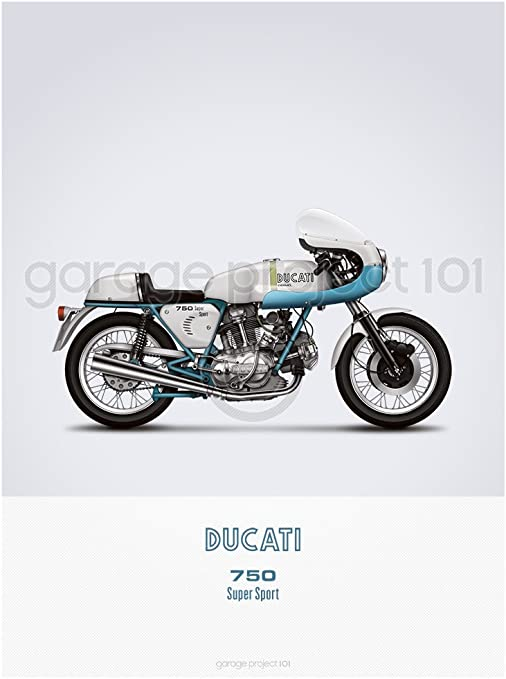 print 18 x 24 inches supersport motorcycle illustration poster Ducati 750ss