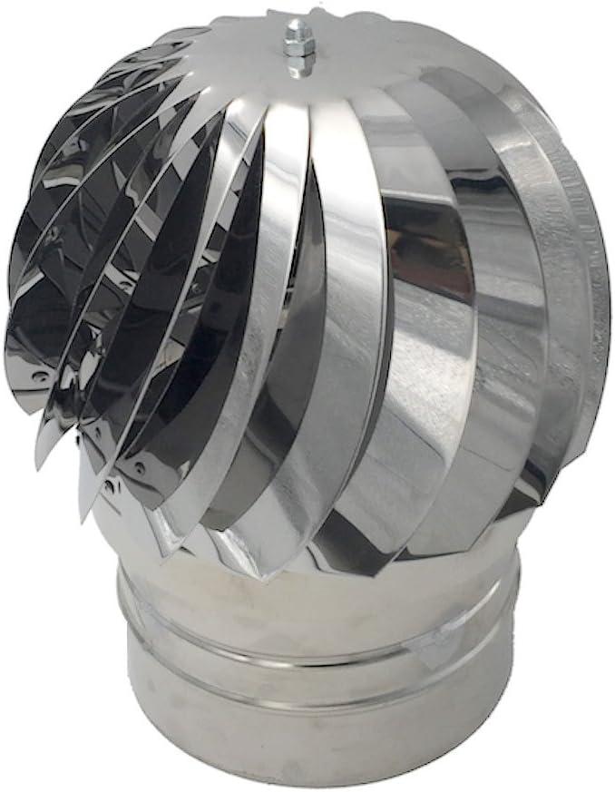 Einside AISI304 - Extractor de humo giratorio de viento, acero inoxidable, base redonda, sombrero de chimenea, varias dimensiones
