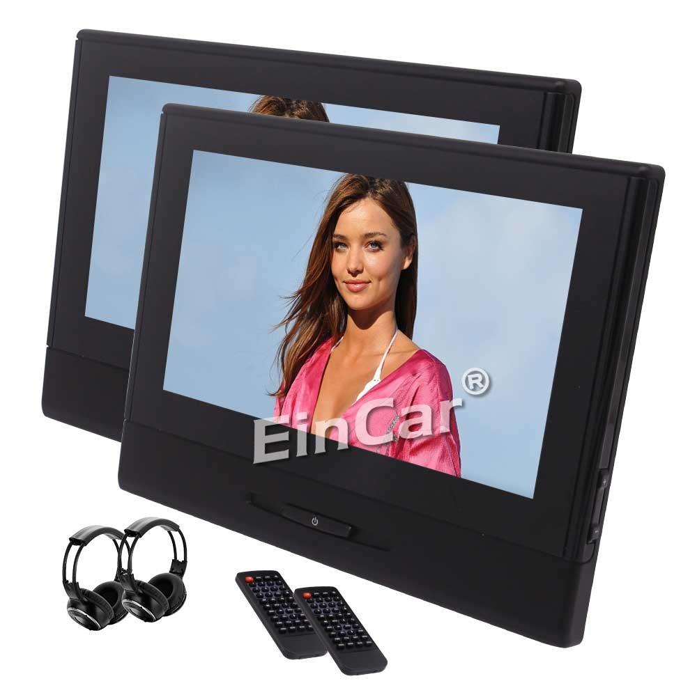 ツインポータブルDVDプレーヤー8インチ1280×720の解像度LEDデュアルヘッドレストモニターサポート無料IRヘッドホンとUSB / DVD / CD / MP3 / MP4 / 1080Pビデオ/ FMトランスミッターを選別 B0788NL33J