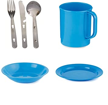 4 Person Camping Picnic Dining Set Plate Mug Bowl and Cutlery Blue Plastic