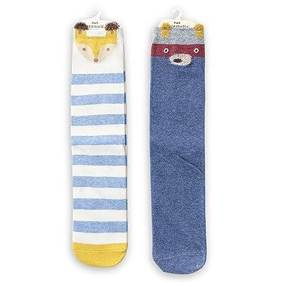 HaloVa Kids Stockings, Unisex Little Boys Girls Children Cartoon Cotton Socks, Knee High Socks for Newborn Infant Toddler, 2 Pairs