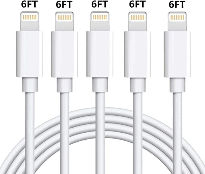 Lightning Charger Cable MFi Certified iPhone Charger Cable 5 Pack 6FT USB Fast Charging Syncing Cord Cables Compatible iPhone XS/Max/XR/X/8/8Plus/7/7P/6S/iPad/IOS White sharllen