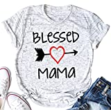 Blessed Mama Letters Print T Shirt Women Love Heart Arrow Casual Fashion Tops Tee