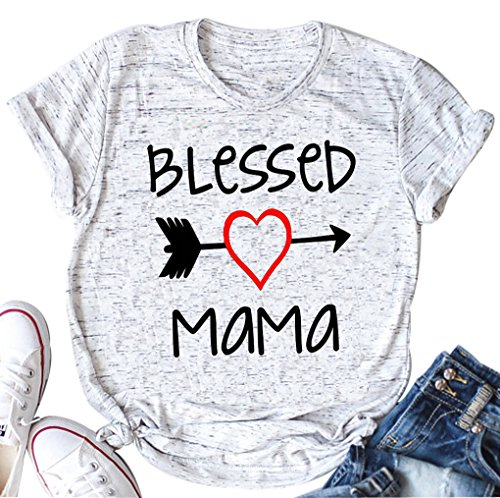 Blessed Mama Letters Print T Shirt Women Love Heart Arrow Casual Fashion Tops Tee(White,X-Large)