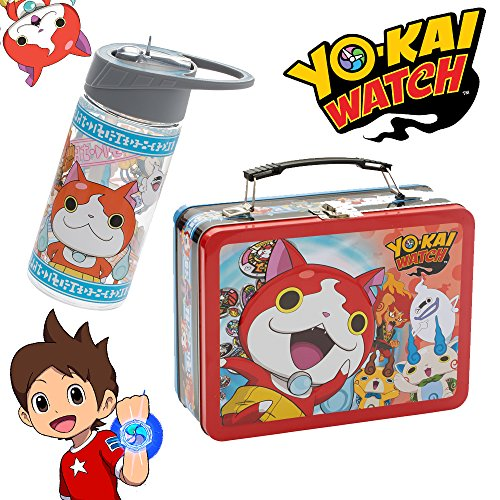 Candy Theme Crush Costume (Yo-Kai Watch Official Licensed Tin Tote Lunch Box Pale & BPA Free 14 oz Ounce Water Bottle with Straw - Whisper Casper Jibanyan Komasan)