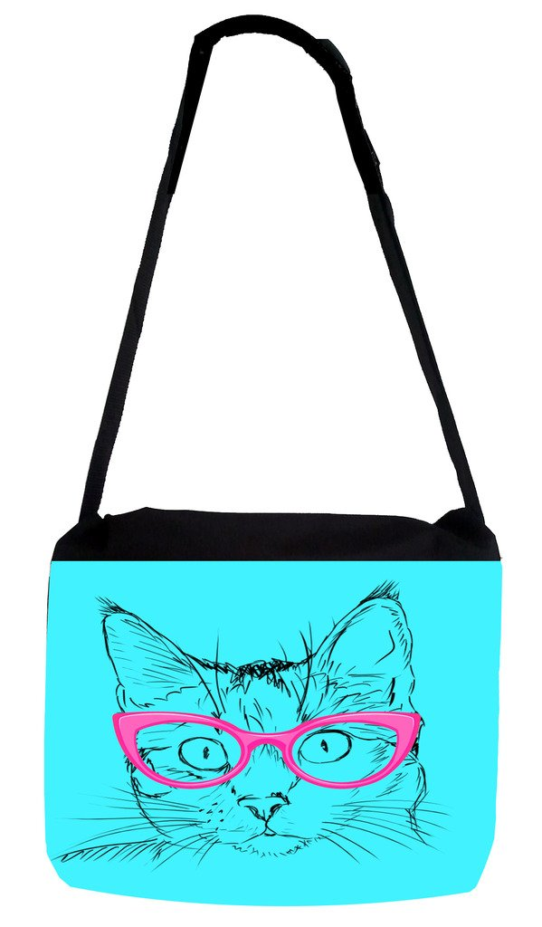 Rosie Parker Inc TM Medium Sized Messenger Bag 11.75 x 15.5 and 5 x 8 Pencil Case SET Hipster Kitty