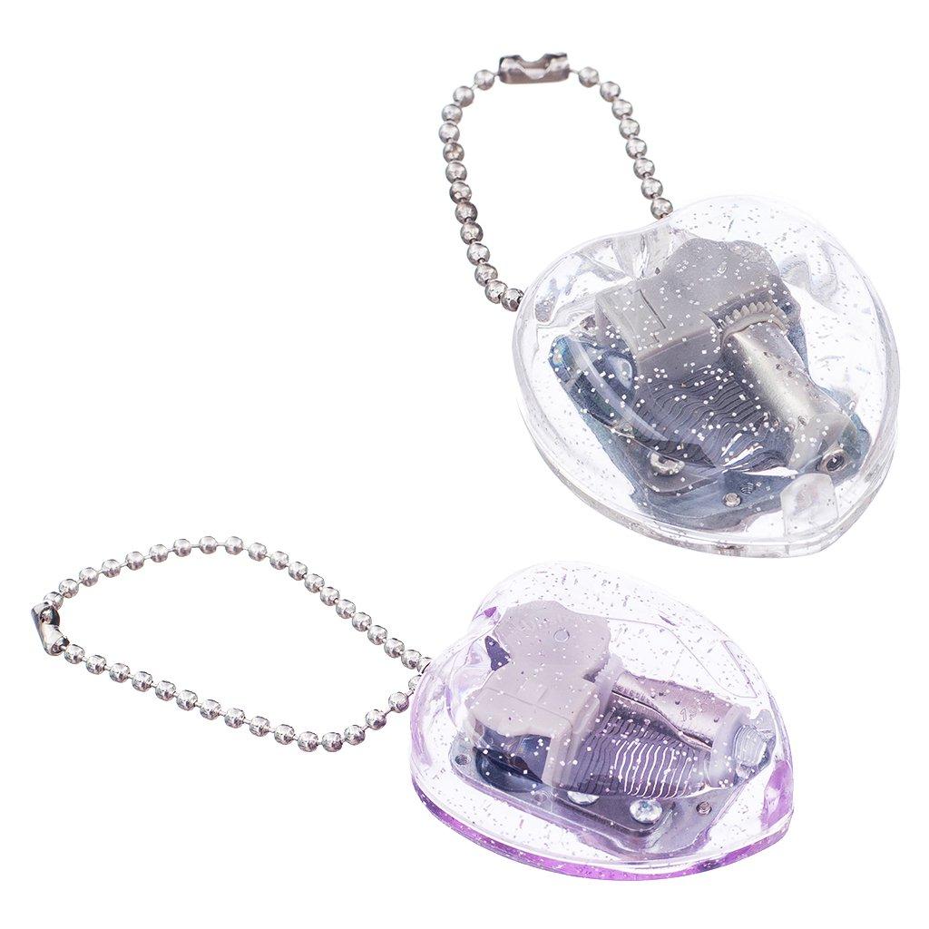 Baosity 2pcs Heart Shape Keychain Movement Music Box Play Castle in the sky Tunes Clear & Purple