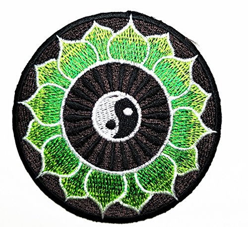 Green Lotus yin yang Spinner Aum om Infinity Hindu Hinduism Yoga Indian Trance Patch Ideal for adorning Your Jeans, Hats, Bags, Jackets and Shirts. (Yang Bag)