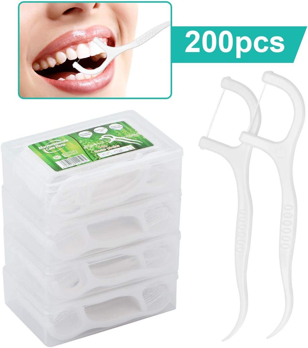 Hilo dental - 200 unidades de hilo dental con soporte para palillo, alambre de dientes/cuidado dental interdental con diseño en forma de Y, palillos de dientes desmontables