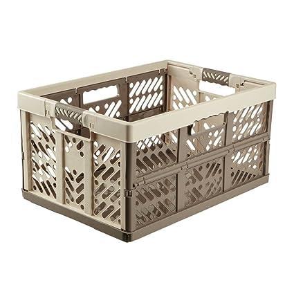 keeeper Caja Plegable con Asas Suaves, 45 l, plástico, Creme/Taupe,