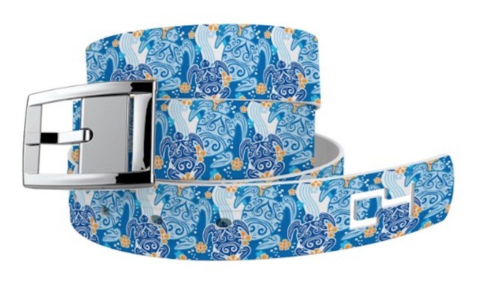 C4 Belts Sea Turtles Blue Classic Belt with Silver Buckle - Fashion Belt - Waist Belt for Women and Men
