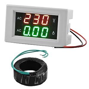 XCSOURCE® Voltímetro Amperímetro Digital + Transformador de Corriente CA +Mide el Voltaje y la Corriente (AC 130-500V 50A Digital LED Pantalla) MA392