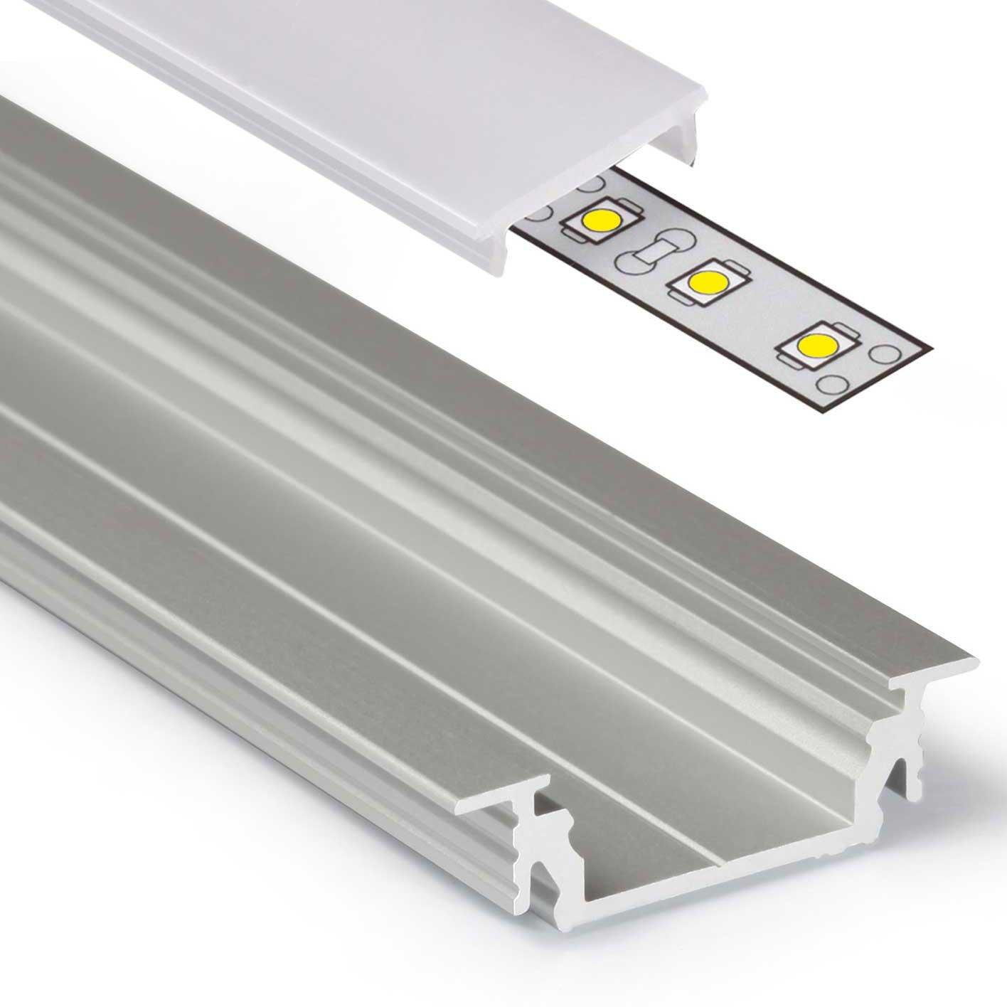 2m Aluprofil GROOVE14 (GR14) Aluminium Profil-Leiste eloxiert für ...