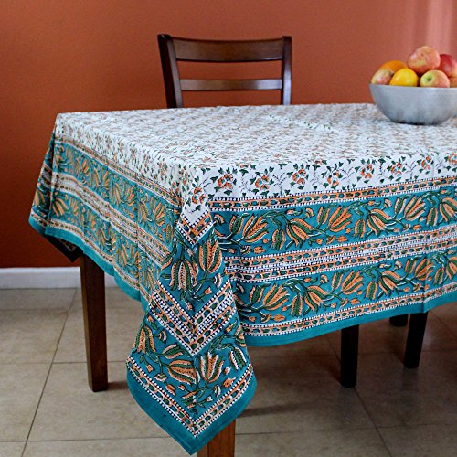 India Arts Handmade Hand Block Print 100% Cotton Eternal Floral Vine Tablecloth 60x60 (Orange Green)