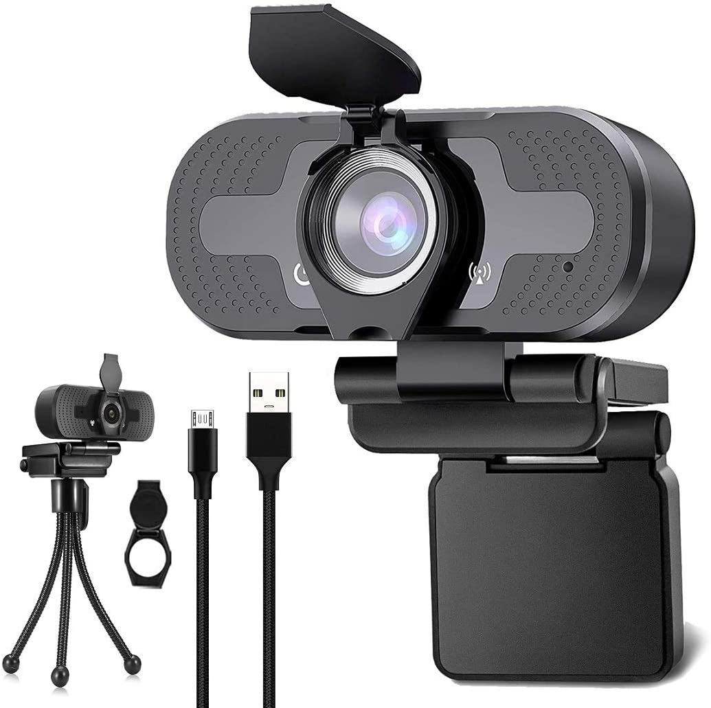 Webcam with Microphone, G.P 1080P HD Streaming USB Computer Webcam [Plug and Play] [30fps] for PC Video Conferencing/Calling/Gaming, Laptop/Desktop Mac, Skype/YouTube/Zoom/Facetime
