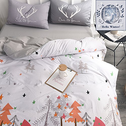 BuLuTu Star Kids Bedding Cover Set Twin White Grey Cotton Gender Neutral Botanical Christmas Tree Duvet Cover and 2 Pillowcases For Boys Girls (Christmas Tree Quilt)