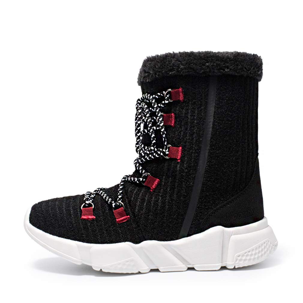 Black Girls Boys Winter Snow Boots Fur Lined Warm shoes Outdoor Waterproof Booties for Women Lightweight Sneaker